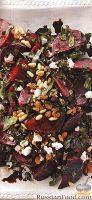 Фото к рецепту: Салат из свеклы с изюмом и кедровыми орешками