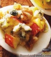 Фото к рецепту: Яйца, фаршированные сыром, яблоками и орехами