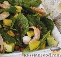 Фото к рецепту: Салат с креветками, авокадо, шпинатом и апельсинами