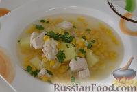 Фото к рецепту: Рисовый суп с кукурузой