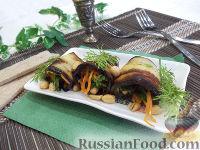 Фото к рецепту: Рулетики из баклажанов с корейской морковью