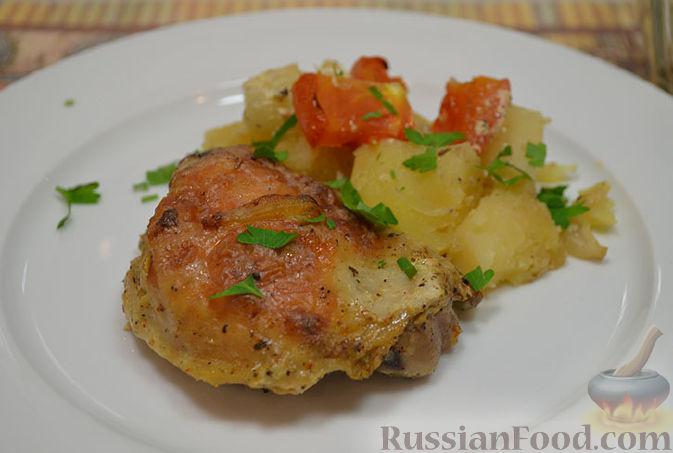 цыпленок табака с картошкой в духовке рецепт с фото