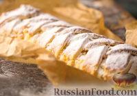 Фото к рецепту: Рулет из песочно-дрожжевого теста с творожной начинкой
