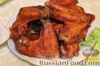 Фото к рецепту: Крылышки в медово-имбирном соусе с вином