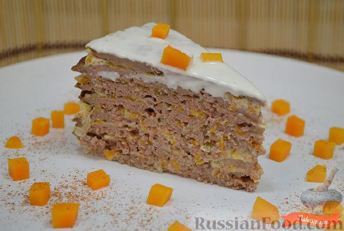 Фото приготовления рецепта: Печеночный торт с тыквой - шаг №11