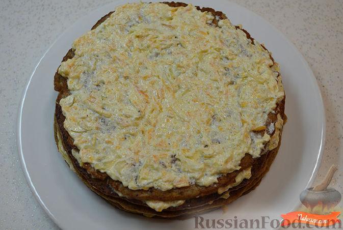 Фото приготовления рецепта: Печеночный торт с тыквой - шаг №9