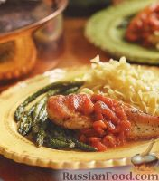 Фото к рецепту: Жареное куриное филе с томатным соусом