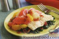 Фото к рецепту: Камбала с цитрусовыми и шпинатом