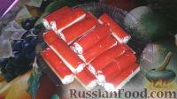 Фото к рецепту: Крабовые палочки, фаршированные творогом