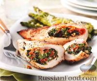 Фото к рецепту: Куриное филе, фаршированное шпинатной начинкой