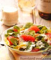 Фото к рецепту: Салат из грейпфрута, с макаронами и зеленью
