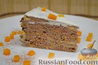 Фото к рецепту: Печеночный торт с тыквой