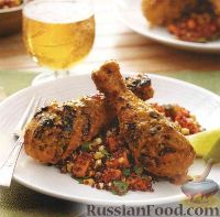 Фото к рецепту: Куриные крылышки (голени), жаренные под острым маринадом