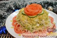 Фото к рецепту: Слоеный капустный салат