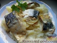 Фото к рецепту: Скумбрия, запеченная в сметане