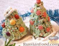 """Фото к рецепту: Кексы-пирожные """"Елочка новогодняя"""""""