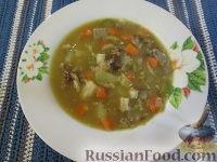 Фото к рецепту: Гороховый суп с копченостями, грибами и маринованными овощами