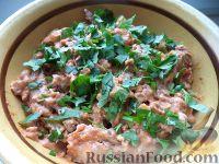 Фото к рецепту: Бефстроганов из печени