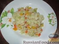 Фото к рецепту: Рис с овощами и копченой индейкой