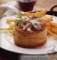 Фото к рецепту: Волованы с мясом и грибами