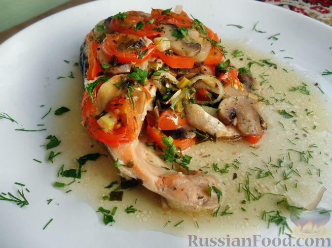 Рецепт Семга, запеченная в овощах