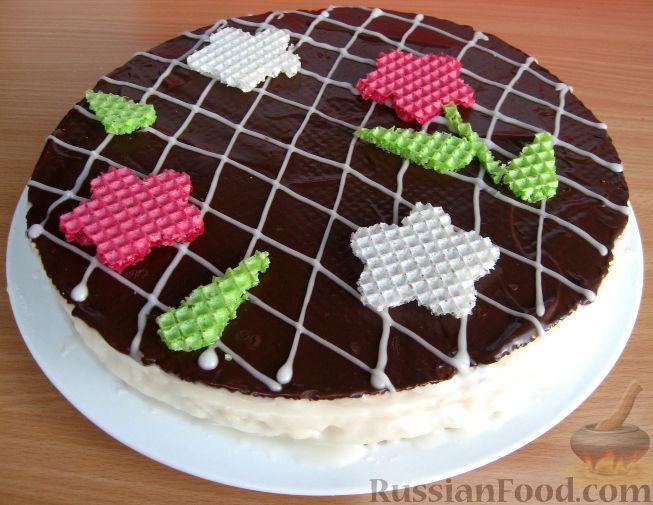 Рецепт Красивый торт из вафель со сгущенкой