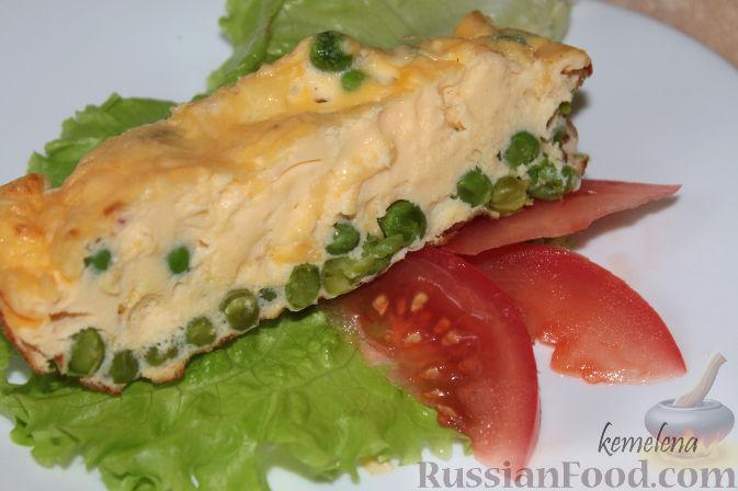 Рецепт Омлет с зеленым горошком и сыром