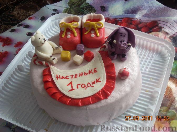 Первый рецепт торта ребенку на 1 год При желании ставим свечку. .  Такой тортик подойдет как для девочки...