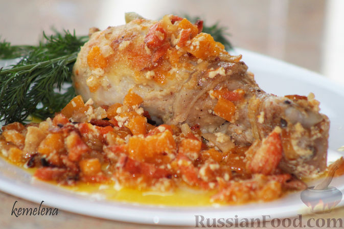 Рецепт Курица в сливках с тыквой и морковью