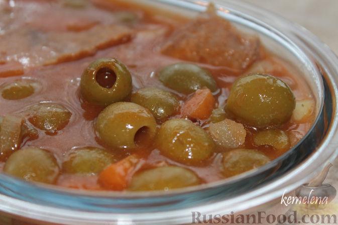 Рецепт Оливковый красный суп