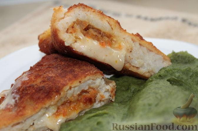 Рецепт Рыбные конверты с сыром, чесноком, морковью и зеленое пюре