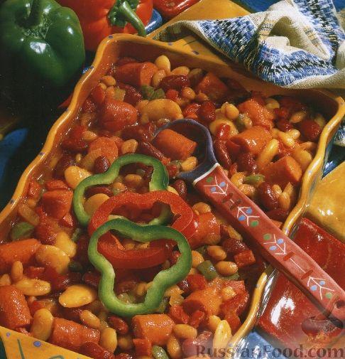 Рецепт Печеные овощи с колбасками и фасолью