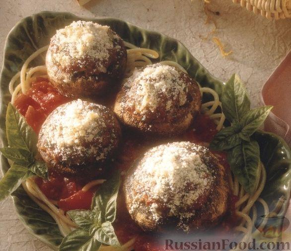 Рецепт Грибы фаршированые, запеченные в ароматном соусе