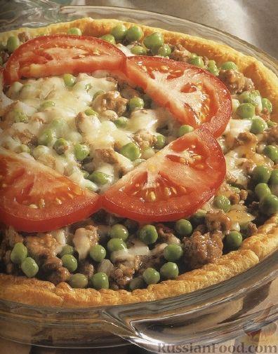 Рецепт Пирог с фаршем, горошком и помидорами