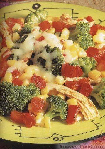 Рецепт Жареные овощи с курятиной и сыром
