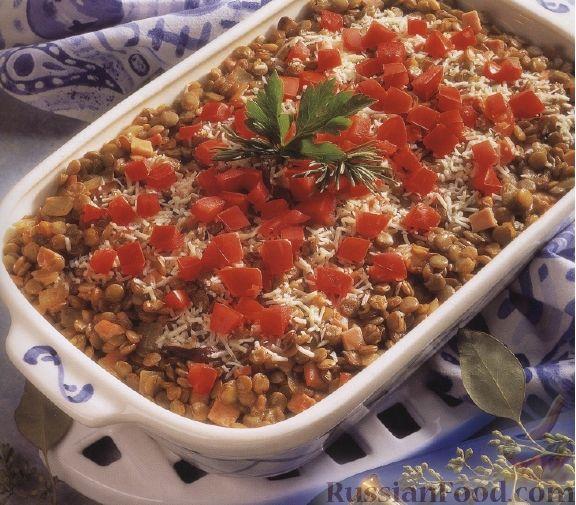 Рецепт Чечевица, запеченная с беконом и грибами