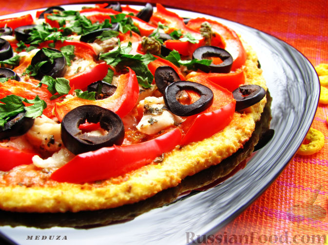 Рецепт Пицца на творожно-ржаном тесте (диет-вариант)