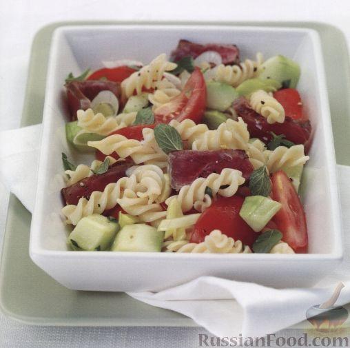 Рецепт Салат из макарон с мясом и овощами