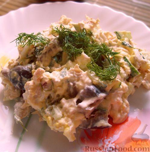 овощной салат с курицей и маринованными груздями рецепт