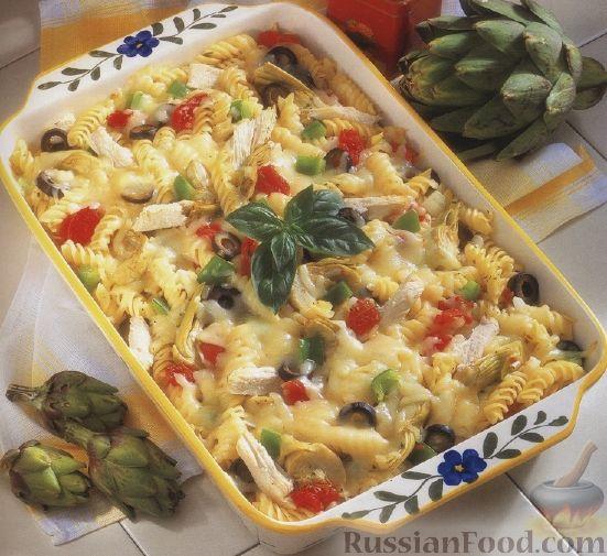Рецепт Макароны, запеченные с куриным филе, артишоками и оливками