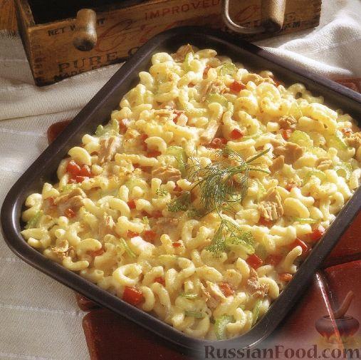 Рецепт Макароны, запеченные с тунцом в сливочном соусе