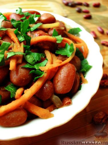 Рецепт Салат из фасоли и моркови по-корейски