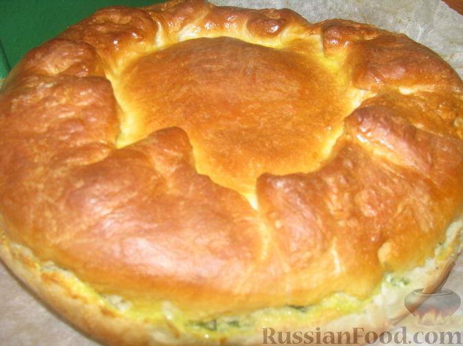 Рецепт Пирог с яйцом, рисом, плавленным сыром и зеленым луком