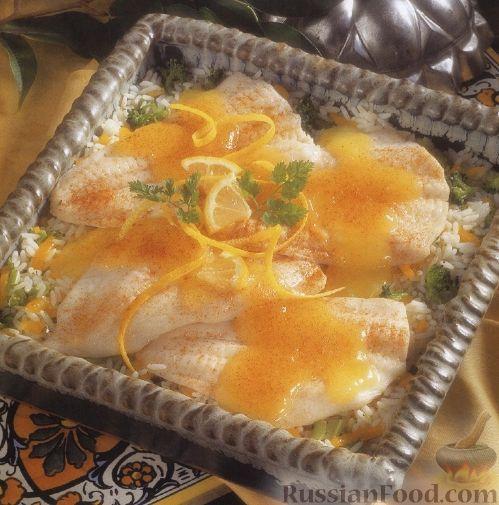 Рецепт Камбала, запеченная с рисом в лимонном соусе