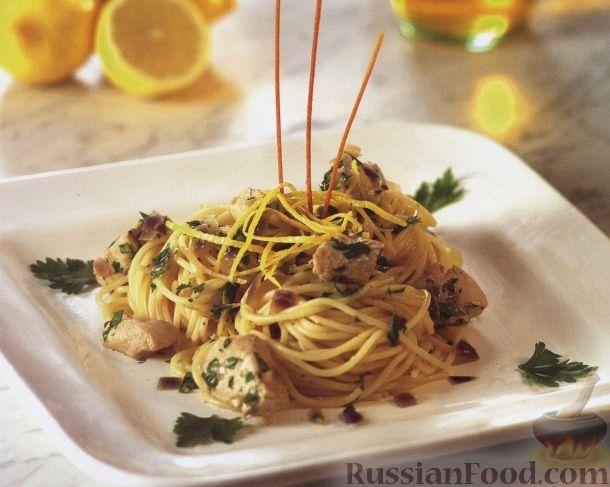 Рецепт Спагетти с куриным филе в лимонном соусе
