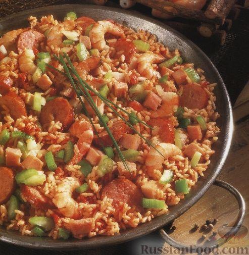 Рецепт Джамбалайя с копченостями и креветками