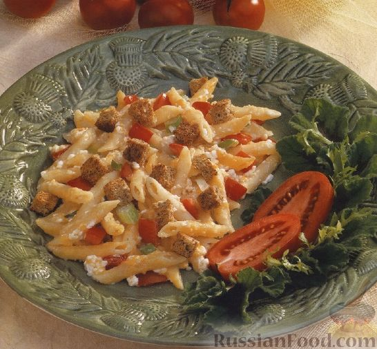 Рецепт Макароны, запеченные с творогом и сухариками