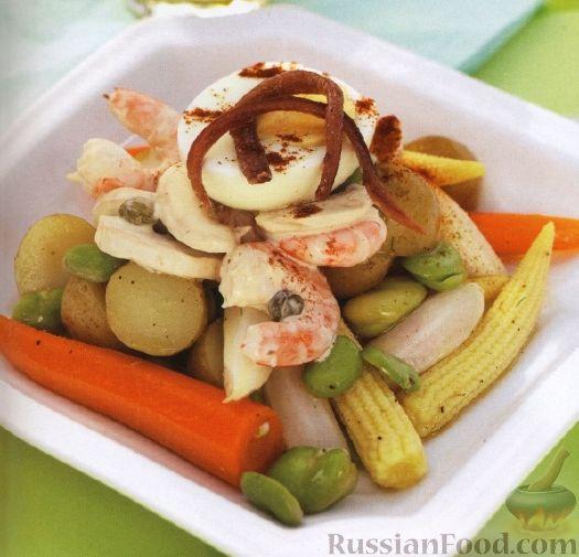 Рецепт Салат из овощей и морепродуктов