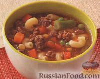 Фото к рецепту: Овощной суп с фаршем и макаронами