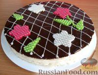 Фото к рецепту: Красивый торт из вафель со сгущенкой